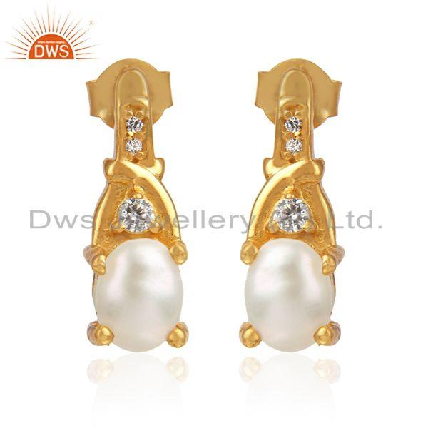 CZ Natural Pearl Gemstone Designer Gold Plated Silver Earrings