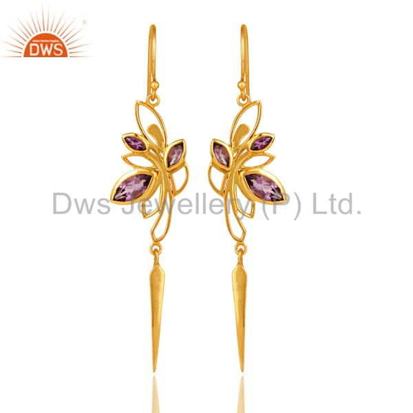 14K Yellow Gold Plated Amethyst Gemstone Modern Design Dangle Earrings