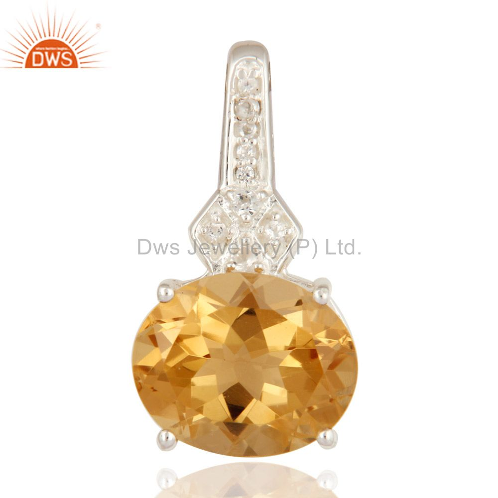 White Topaz And Citrine 925 Sterling Silver Fine Gemstone Pendant Jewelry