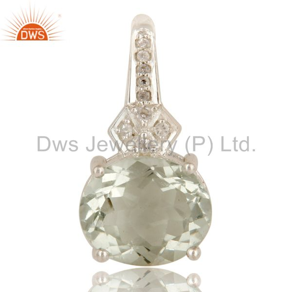 925 Sterling Silver Green Amethyst Gemstone Prong Set Pendant With White Topaz