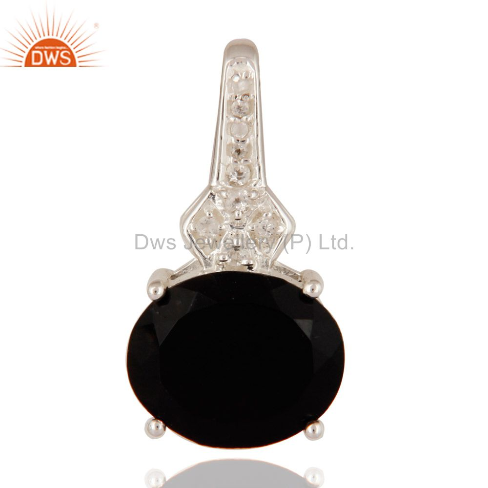 Solid 925 Sterling Silver Prong Set Black Onyx Gemstone Pendant With White Topaz
