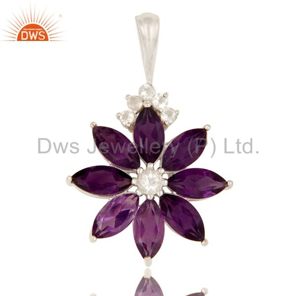 925 sterling silver amethyst cluster flower pendant with white topaz