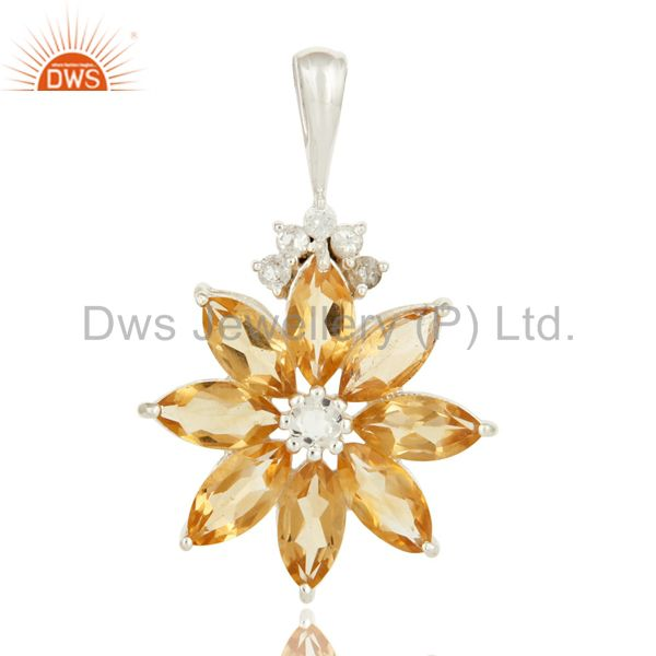 Natural Citrine 925 Sterling Silver Solitaire Pendant With White Topaz