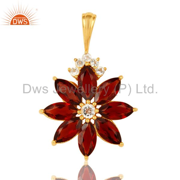18k gold plated sterling silver marquise cut garnet pendant with white topaz