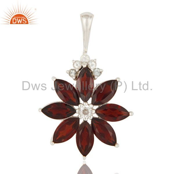 925 sterling silver natural garnet gemstone solitaire pendant with white topaz