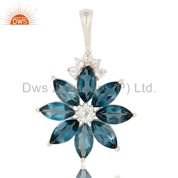 925 sterling silver london blue topaz flower cluster pendant with white topaz