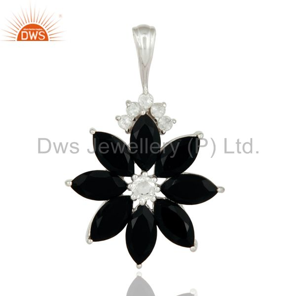 Natural Black Onyx 925 Sterling Silver Designer Pendant With White Topaz