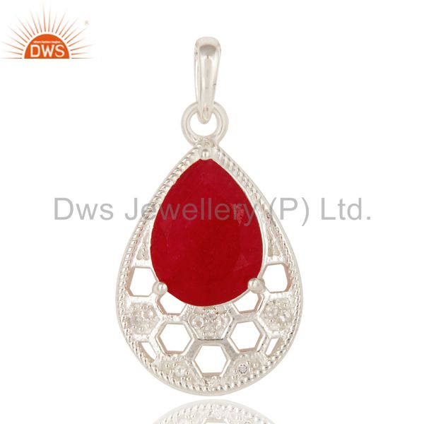 925 Sterling Silver Natural Red Aventurine And White Topaz Fine Gemstone Pendant