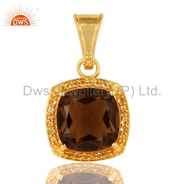 925 Sterling Silver Smokey Quartz And Citrine Pendant - Gold Plated
