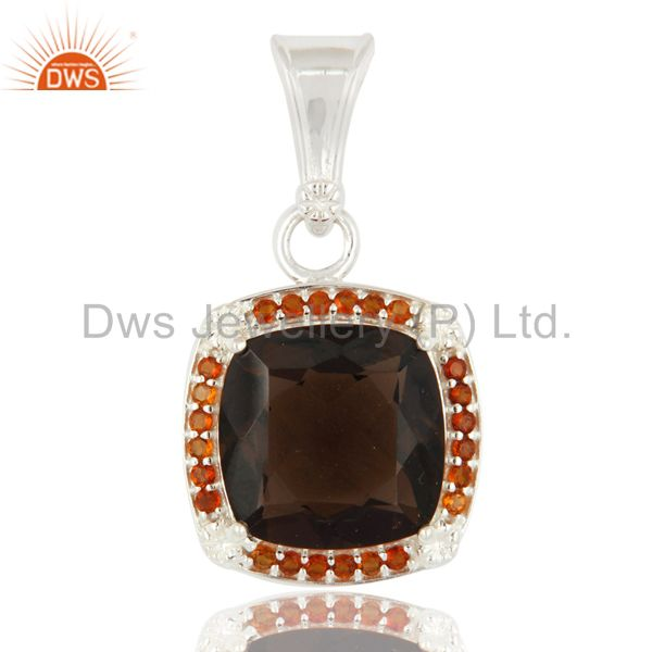 Cushion Cut Smoky Quartz And Citrine Pendant in 925 Sterling Silver Jewelry