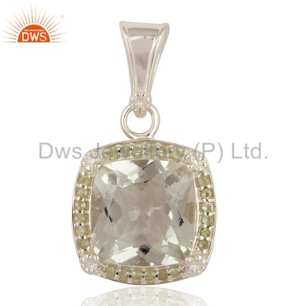 Green Amethyst Gemstone Solitaire 925 Sterling Silver Pendant With White Topaz