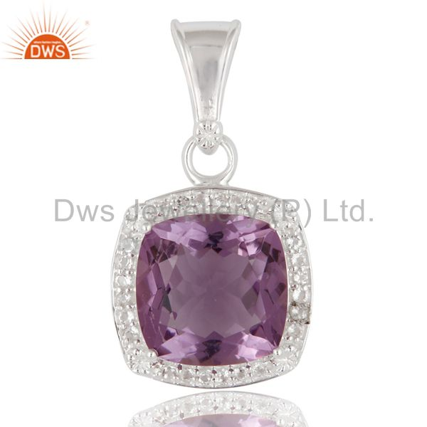 925 Sterling Silver Cushion Cut Amethyst And White Topaz Accent Pendant