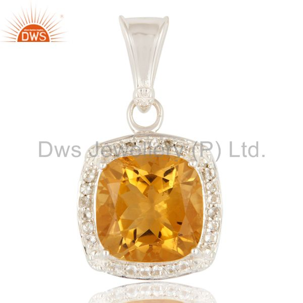 Sterling Silver Cushion Cut Citrine Gemstone Solitaire Pendant With White Topaz