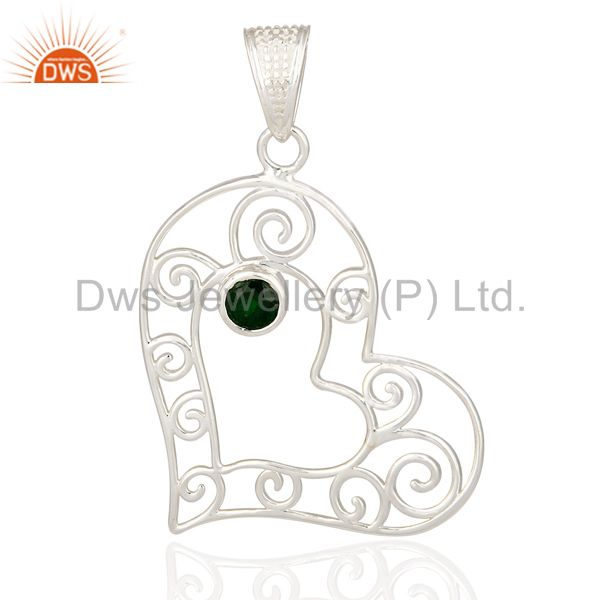 925 Sterling Silver Natural Green Chrome Diopside Heart Design Pendant