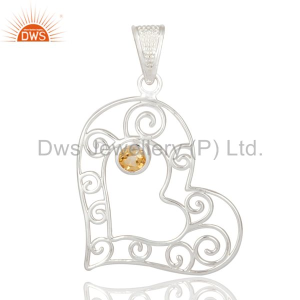 Natural citrine gemstone heart designs solid 925 sterling silver pendant