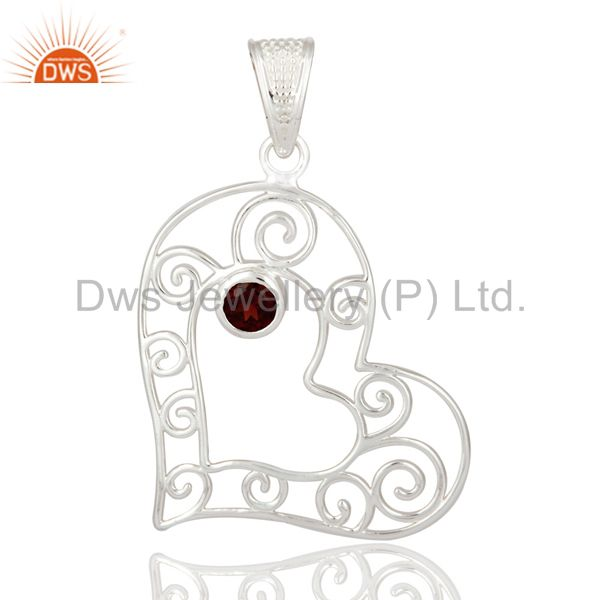Genuine garnet gemstone solid 925 sterling silver heart design pendant