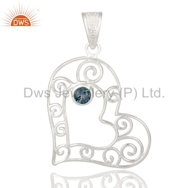 Genuine 925 Sterling Silver Heart Design Pendant With Natural London Blue Topaz