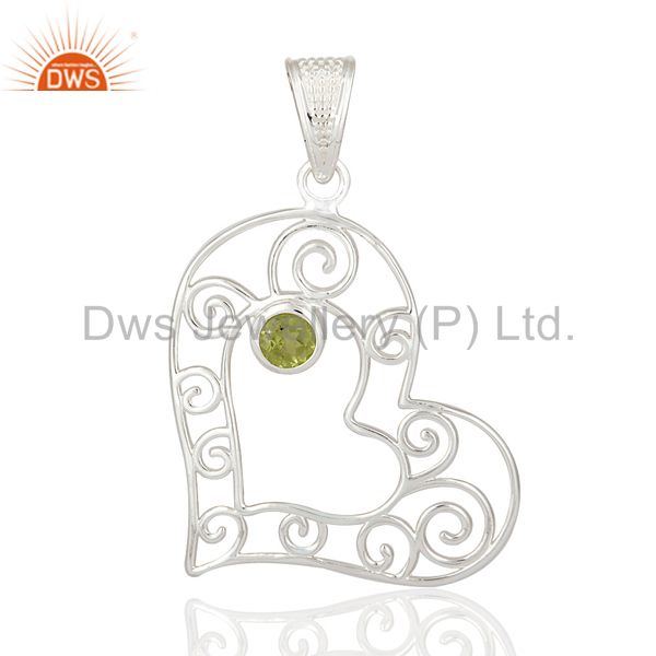925 sterling silver natural peridot gemstone heart designer pendant