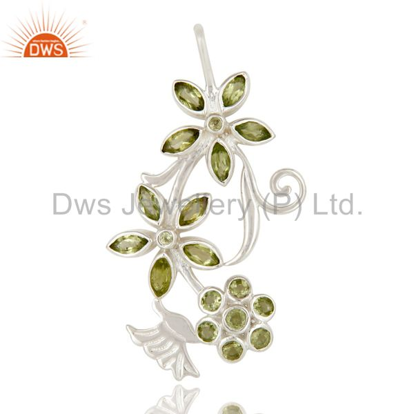 Natural Peridot Gemstone Sterling Silver Flower Design Pendant
