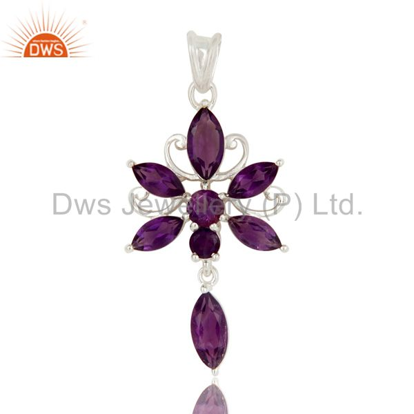 Natural Purple Amethyst Gemstone Sterling Silver Cluster Designer Pendant