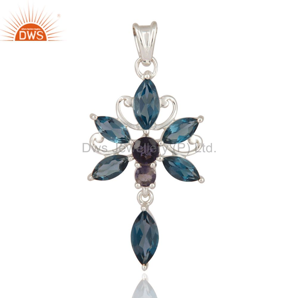 London Blue Topaz Gemstone Iolite Sterling Silver Butterfly Solitaire Pendant
