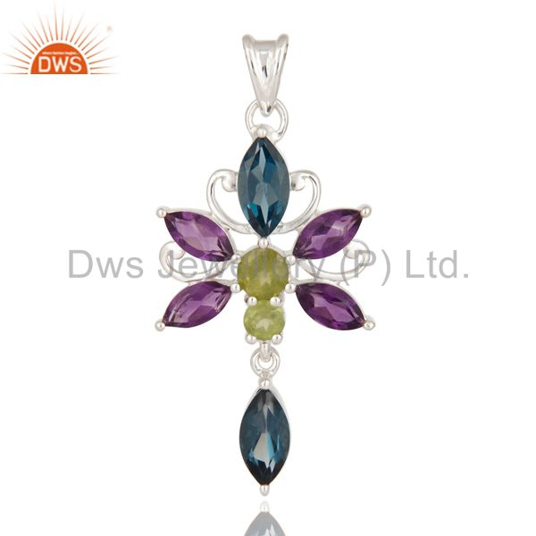 925 Sterling Silver London Blue Topaz / Peridot And Amethyst Designer Pendant