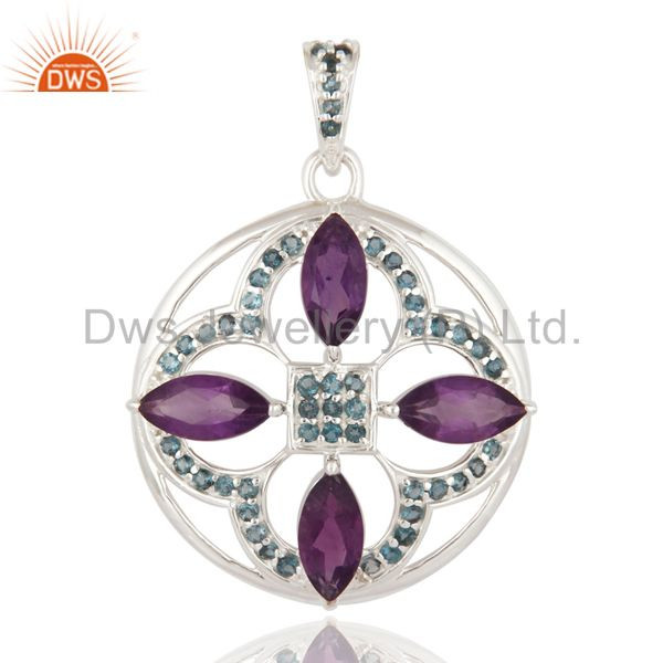 High Quality Solid 925 Sterling Silver Amethyst And Blue Topaz Gemstone Pendant