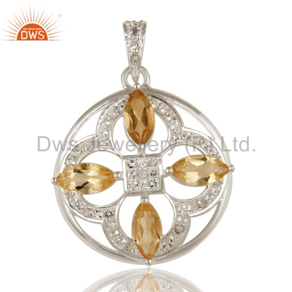 Genuine Citrine And White Topaz 925 Sterling Silver Floral Designs Pendant