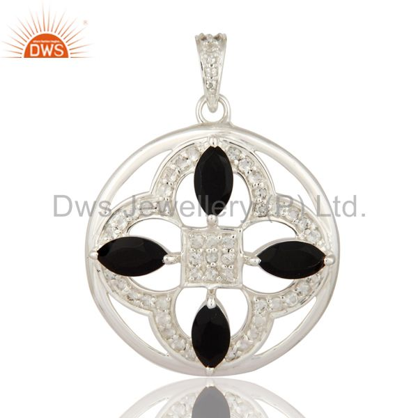 Genuine 925 Sterling Silver Designer White Topaz And Black Onyx Gemstone Pendant