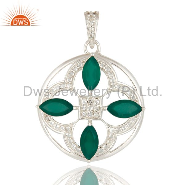 Natural Green Onyx 925 Sterling Silver Unique Design Pendant With White Topaz