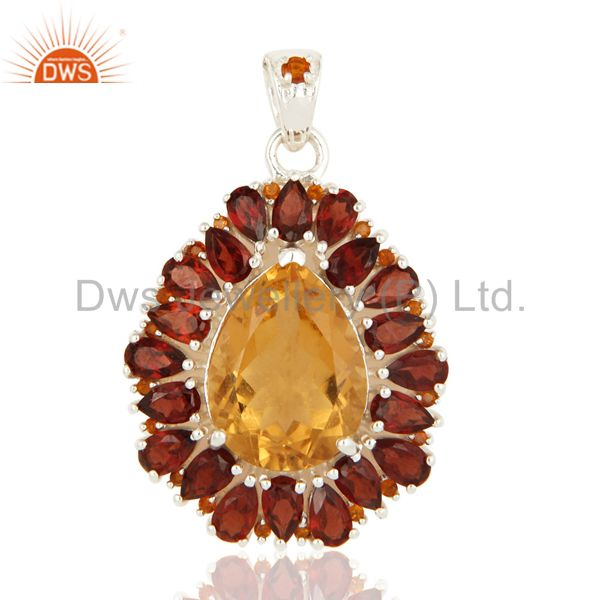 Natural Citrine And Garnet Solitaire 925 Sterling Silver Pendant