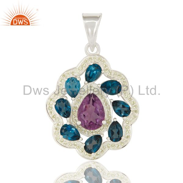 925 Sterling Silver London Blue Topaz, Peridot And Amethyst Solitaire Pendant