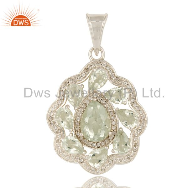 925 Sterling Silver Green Amethyst And White Topaz Designer Pendant
