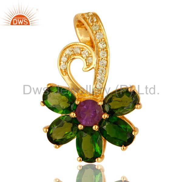 Peridot, Amethyst And Chrome Dispose 18K Gold Plated Sterling Silver Pendant