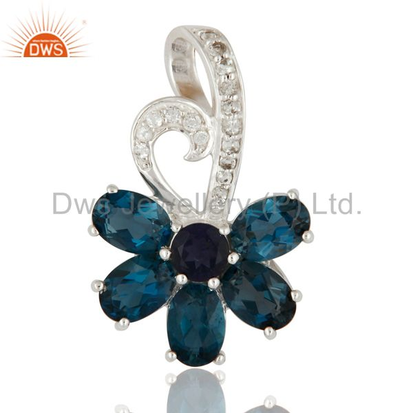 Natural London Blue Topaz And Iolite Solid 925 Sterling Silver Solitaire Pendant