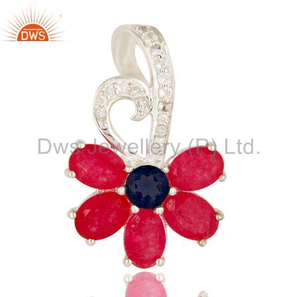 925 Sterling Silver Blue Corundum And Red Aventurine Pendant With White Topaz