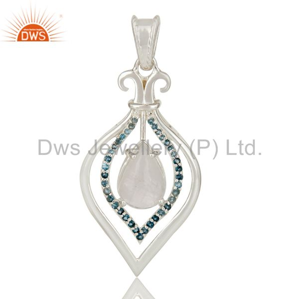 Natural rainbow moonstone and blue topaz 925 sterling silver designer pendant