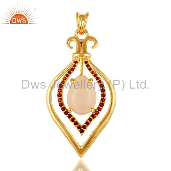 Rose quartz and garnet gemstone sterling silver pendant - yellow gold plated