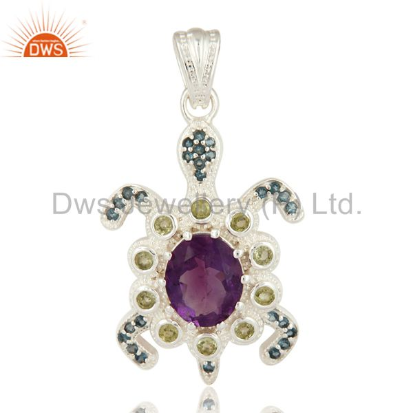 Peridot, Amethyst And Blue Topaz 925 Sterling Silver Turtle Pendant