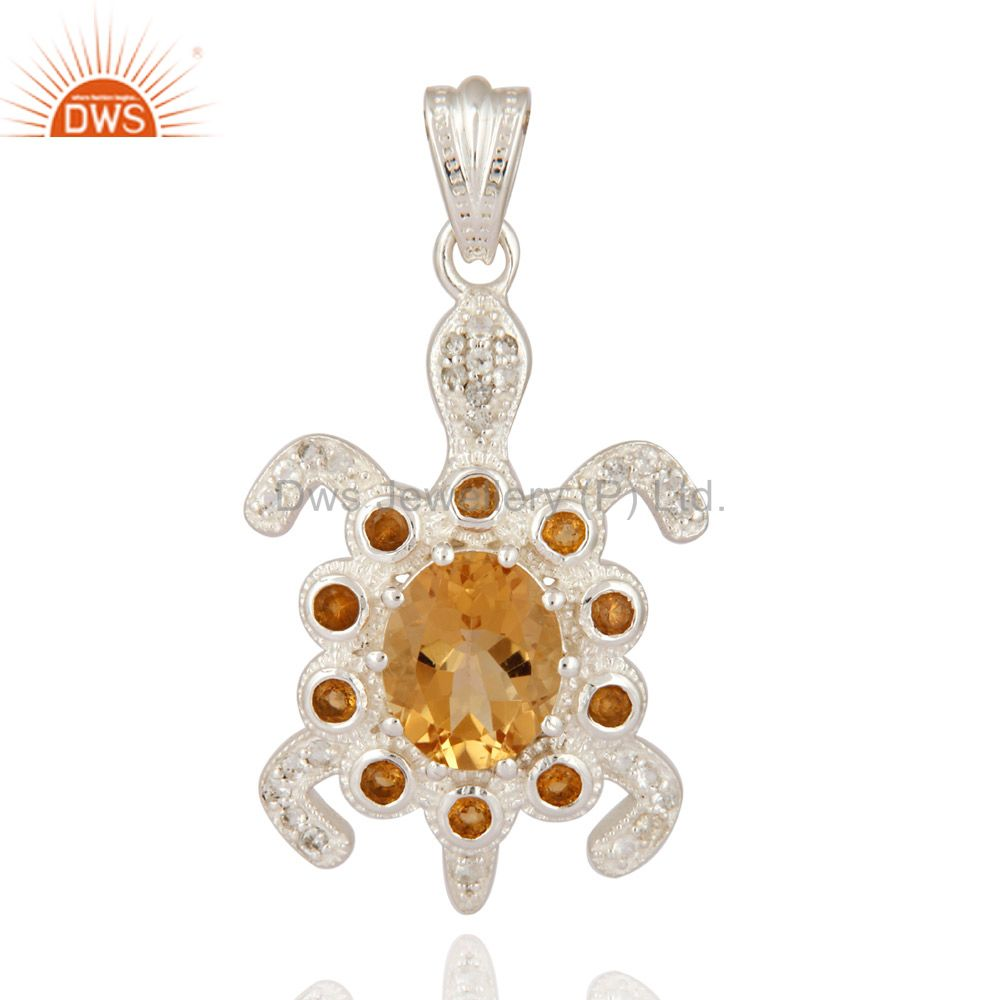 Solid 925 Sterling Silver Good Luck Turtle Pendant With Natural Citrine Gemstone