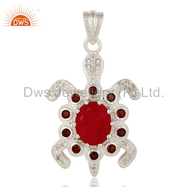 925 Sterling Silver Garnet, Red Aventurine And White Topaz Turtle Design Pendant