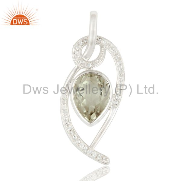 925 Sterling Silver Green Amethyst And White Topaz Pendant For Womens