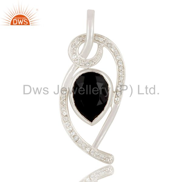 925 Sterling Silver White Topaz And Black Onyx Gemstone Designer Pendant