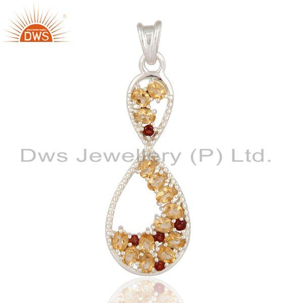 925 Sterling Silver Natural Garnet And Citrine Designer Pendant - Fine Jewelry