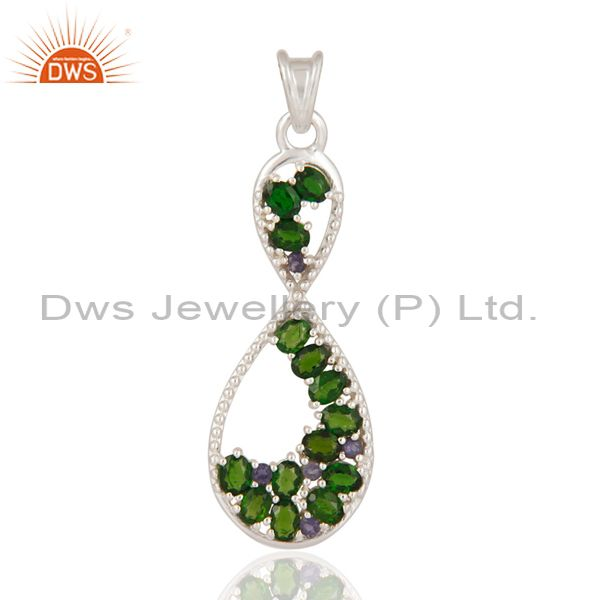 Oval Cut Natural Green Chrome Diopside And Iolite 925 Sterling Silver Pendant
