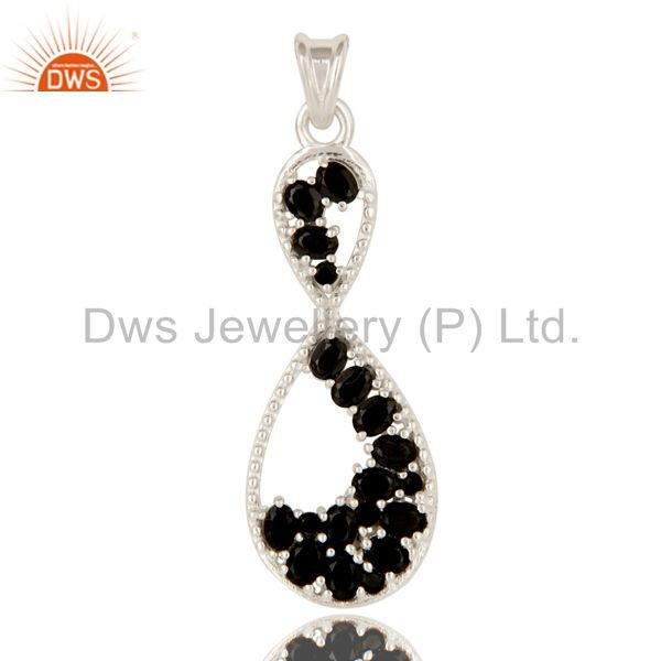 925 Solid Sterling Silver Black Onyx Gemstone Infinity Design Pendant Jewelry