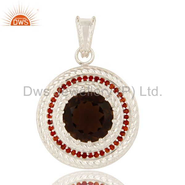925 Solid Sterling Silver Smoky Quartz And Garnet Gemstone Circle Pendant