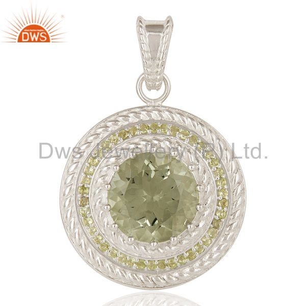 925 Sterling Silver Green Amethyst And Peridot Prong Set Circle Pendant