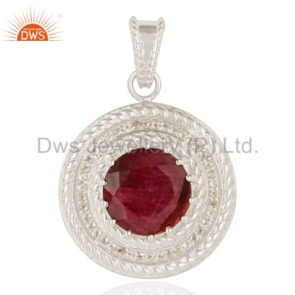 925 Sterling Silver Red Corundum And White Topaz Prong Set Circle Pendant