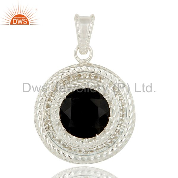 Handmade Sterling Silver Black Onyx And White Topaz Disc Pendant